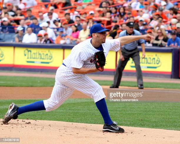 New York Mets pitcher Oliver Perez pitches from the stretch during the Major League Baseball game against the Arizona Diamonbacks on June 3 2007 at...