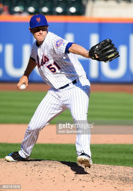 New York Mets Pitcher Paul Sewald delivers a pitch during a MLB game between the New York Mets and Washington Nationals on September 24 2017 at Citi...