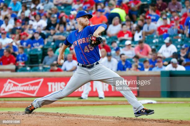 New York Mets pitcher Zack Wheeler throws a pitch during the MLB game between the New York Mets and Texas Rangers in June 72017 at Globe Life Park in...
