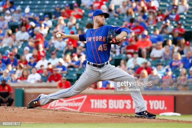 New York Mets pitcher Zack Wheeler throws during the MLB game between the New York Mets and Texas Rangers in June 72017 at Globe Life Park in...