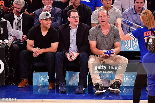 New York Mets players Michael Conforto and Noah Syndergaard attend the Charlotte Bobcats vs New York Knicks game at Madison Square Garden on April 6...