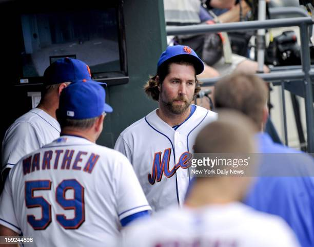 New York Mets R.A. Dickey at end of 7th after giving up one run against the Philadelphia Phillies during the first game of a double-header at Citi...
