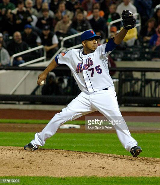 New York Mets relief pitcher Francisco Rodriguez fires a curve ball home in the eighth inning of the Mets come from behind 43 extra inning win at...