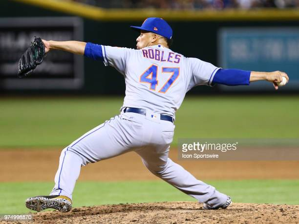 New York Mets relief pitcher Hansel Robles pitches during the MLB baseball game between the Arizona Diamondbacks and the New York Mets on June 14...