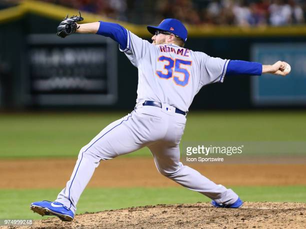 New York Mets relief pitcher Jacob Rhame pitches during the MLB baseball game between the Arizona Diamondbacks and the New York Mets on June 14 2018...
