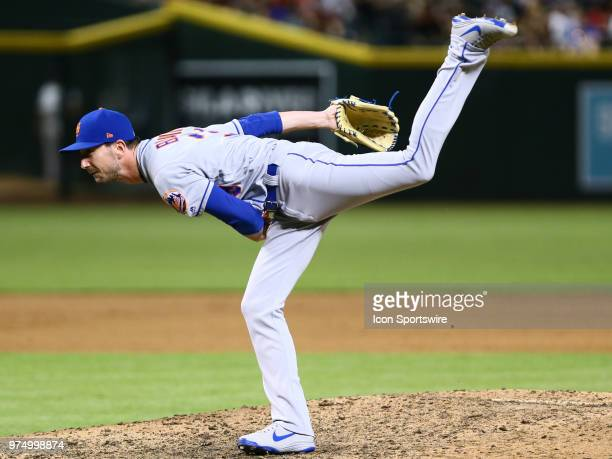 New York Mets relief pitcher Jerry Blevins pitches during the MLB baseball game between the Arizona Diamondbacks and the New York Mets on June 14...