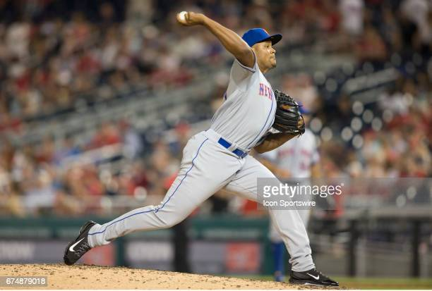 New York Mets relief pitcher Jeurys Familia during a MLB National League game between the Washington Nationals and the New York Mets on April 28 at...