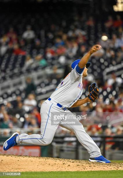 New York Mets relief pitcher Jeurys Familia pitches in the eighth inning during the game between the New York Mets and the Washington Nationals on...