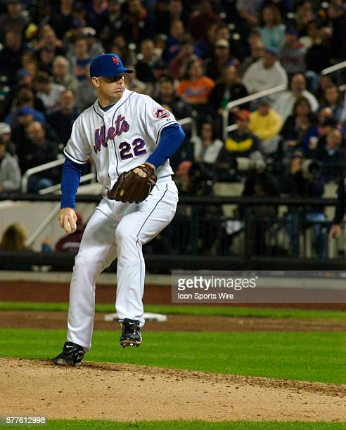 New York Mets relief pitcher JJ Putz fires a curve ball home in the seventh inning against the Atlanta BravesThe Mets went on to win 43 in extra...