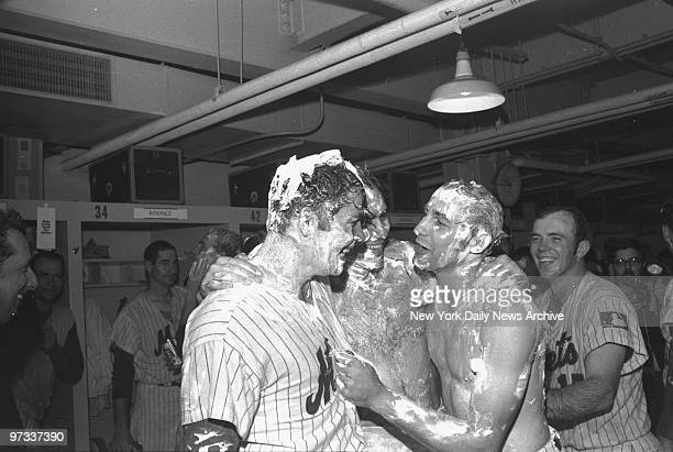 New York Mets' Ron Swoboda Art Shamsky and Ken Boswell are in a lather after Mets clinched the National League Eastern Division with a win over the...
