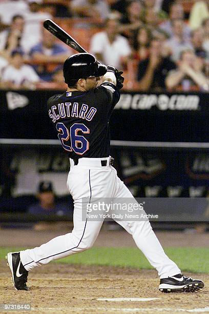 New York Mets' rookie Marcos Scutaro who just made his big league debut yesterday slugs a pinchhit tworun triple in the seventh inning to give the...