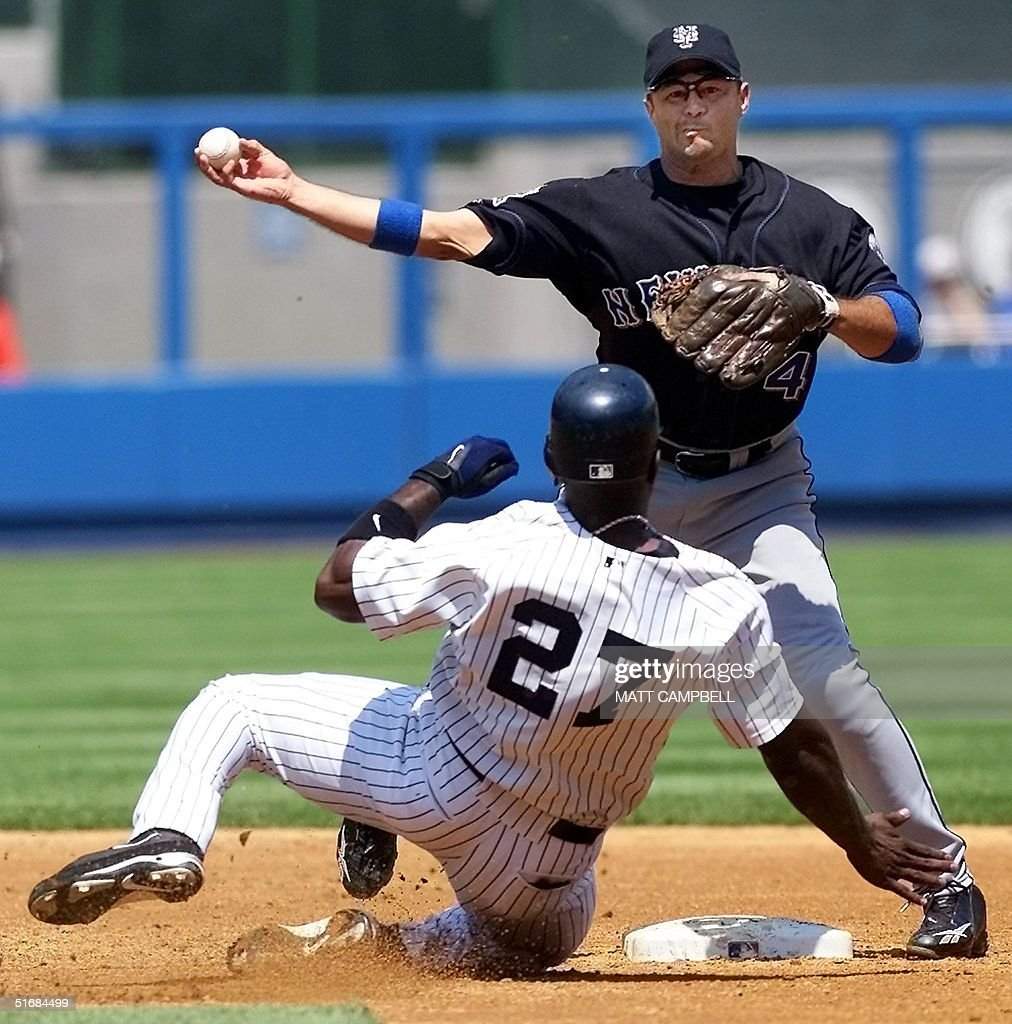 New York Mets Second Baseman John Valentin (R) Relays To First To Complete  The