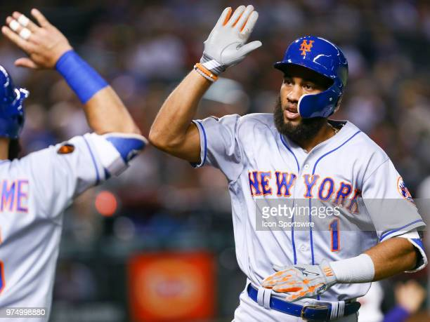 New York Mets shortstop Amed Rosario celebrates a homer during the MLB baseball game between the Arizona Diamondbacks and the New York Mets on June...