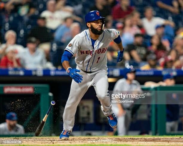 New York Mets Shortstop Amed Rosario hits a sacrifice fly ball during the fifth inning of a Major League Baseball game between the New York Mets and...