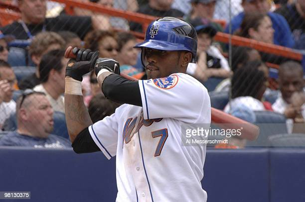New York Mets shortstop Jose Reyes sets to bat against the Milwaukee Brewers April 15 2006 at Shea Stadium The Brewers defeated the Mets 8 2