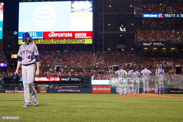New York Mets starting pitcher Jacob deGrom as seen walking back to the dugout at Bush Stadium in St Louis Missouri