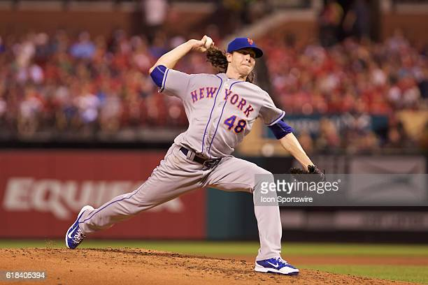 New York Mets starting pitcher Jacob deGrom pitches against the St Louis Cardinals at Bush Stadium in St Louis Missouri