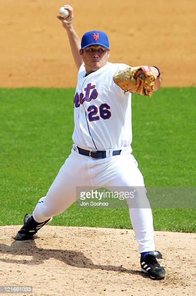 New York Mets starting pitcher Jae Seo pitches to Los Angeles Dodgers Adrian Beltre in the first inning at Shea Stadium in Flushing, New York. The...