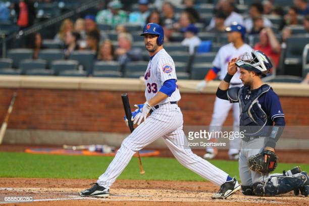 New York Mets starting pitcher Matt Harvey at bat during the first inning of the Major League Baseball Game between the New York Mets and the San...