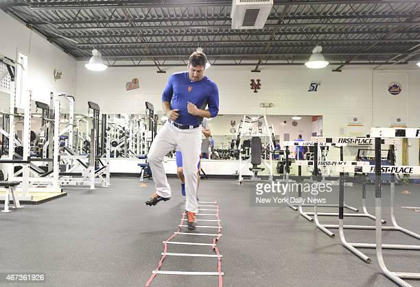 New York Mets starting pitcher Matt Harvey in gym for strength & conditioning.