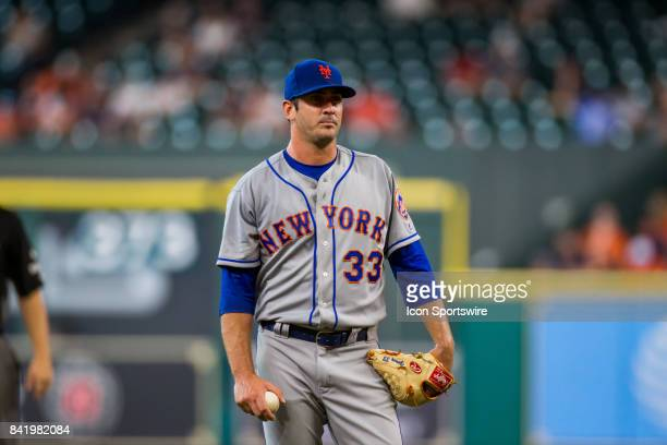 New York Mets starting pitcher Matt Harvey looks on in the second inning during an MLB game between the Houston Astros and the New York Mets at...