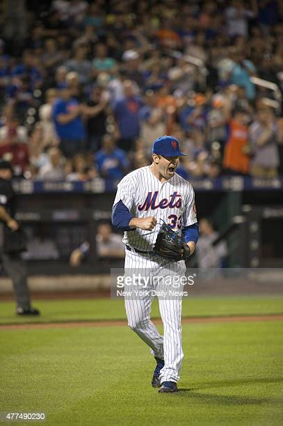 New York Mets starting pitcher Matt Harvey pumps fist as he finishes off Toronto Blue Jays in the 7th inning New York Mets vs Toronto Blue Jays @...