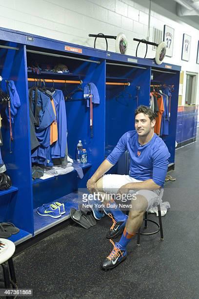 New York Mets starting pitcher Matt Harvey relaxing before throwing
