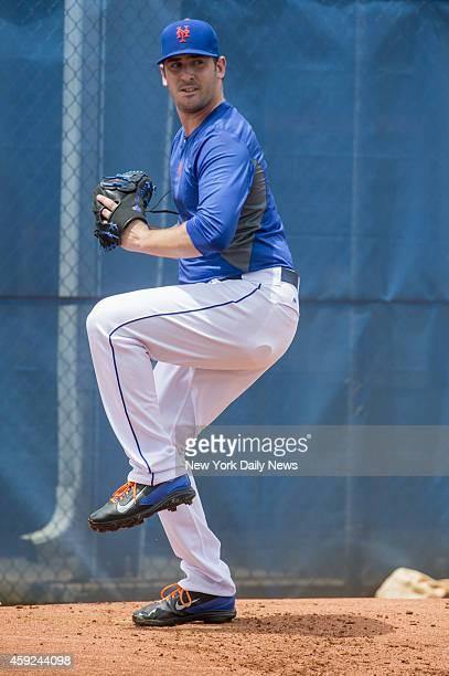 New York Mets starting pitcher Matt Harvey throwing ball Tuesday, Aug. 5, 2014 in Port St Lucie.