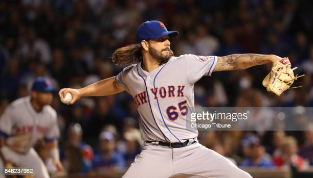 New York Mets starting pitcher Robert Gsellman works against the Chicago Cubs in the second inning at Wrigley Field in Chicago on Tuesday Sept 12 2017