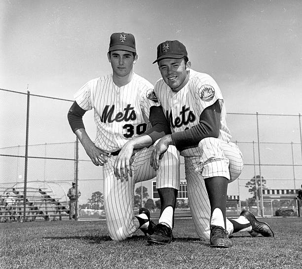 New York Mets' Texas battery Nolan Ryan [left] and Jerry Gro