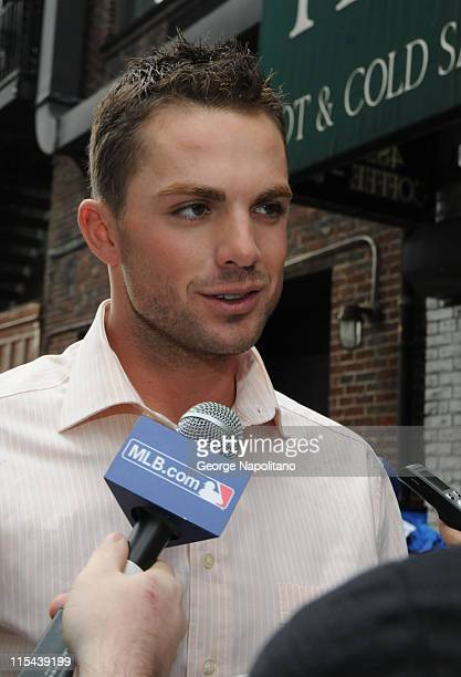 New York Mets third baseman David Wright on 52nd St outside the Ed Sullivan Theater after appearing on Late Show with David Letterman April 14 2008...