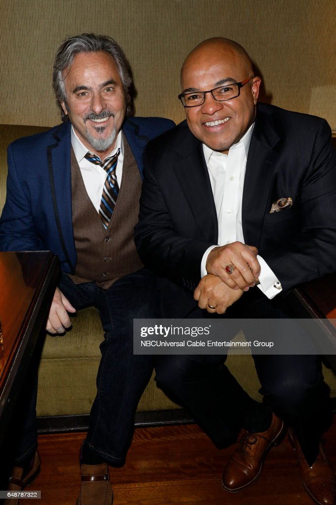 New York Midseason Press Day, March 2017 -- Pictured: (l-r) David Feherty 'Feherty' on Golf Channel, Mike Tirico 'Golf/Olympics' on NBC Sports --