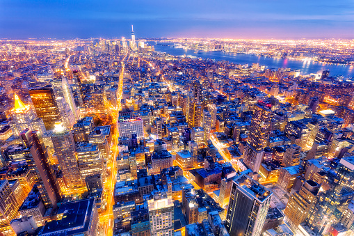 New York, Midtown Manhattan, Aerial View at Dusk - gettyimageskorea