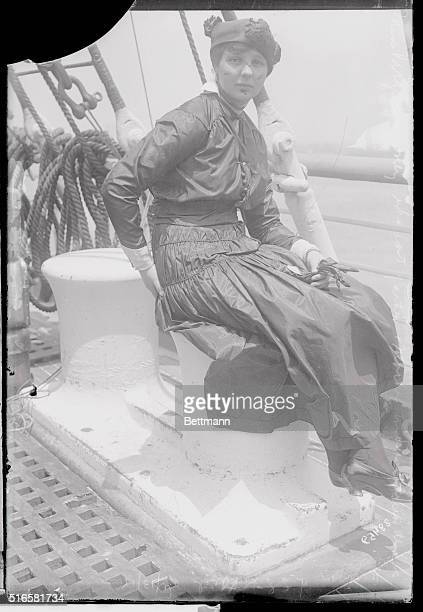 Miss Virginia Loney who lost both her father and mother in the Lusitania disaster but who was saved after swimming for several hours in the water is...