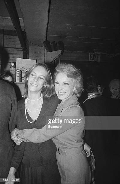 Mother And Daughter Actress Janet Leigh shares a moment with her daughter Jamie Lee Curtis December 28th after Janet's opening night performance in a...