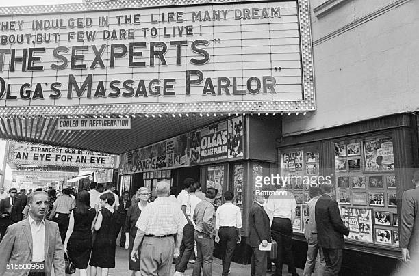 Movie marquees advertise sexoriented films being shown on 42nd Street in this 1969 photo from file The title changes but the fares stay the same in...