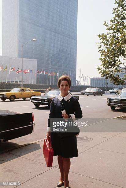 New York Mrs Shirley temple Black US delegate to the United NAtions General Assembly outside the U