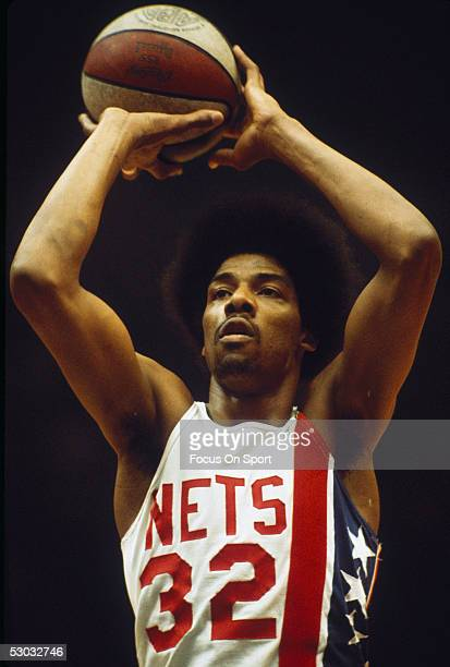 New York Nets' forward Julius Erving shoots from the freethrow line during a game at Nassau Coliseum circa the 1970's in Long Island New York NOTE TO...