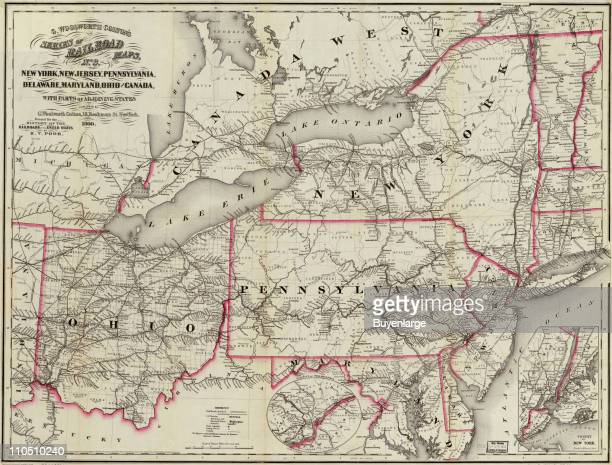 New York New Jersey Pennsylvania Delaware Maryland Ohio and Canada 1860 Illustration by Colton G Woolworth