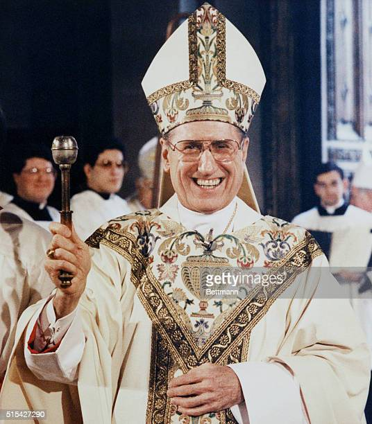 New York, New York: Archbishop John O'Connor smiles, March 19, during investiture ceremonies at St. Patrick's Cathedral.