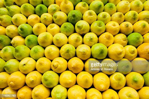 USA, New York, New York City, Brooklyn, Stack of lemons on market