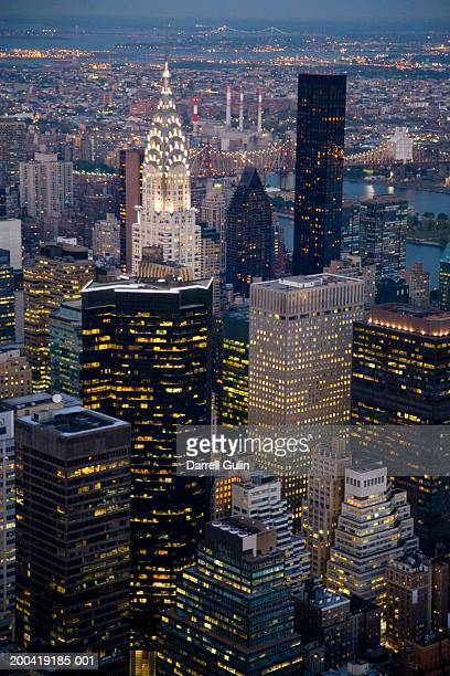 USA, New York, New York City, cityscape at dusk, elevated view
