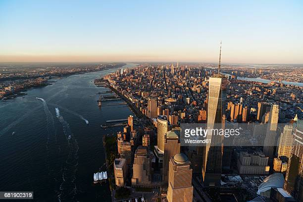 USA, New York, New York City, cityscape with World Trade Center and Hudson River