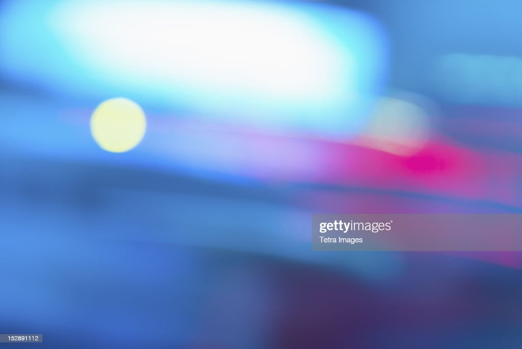 USA, New York, New York City, Colorful lights : Stock Photo