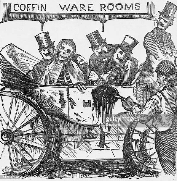 New York City Common Council in equipage with Cholera being shown sample of the city's disease carrying street dirt Cartoon of the 1860s