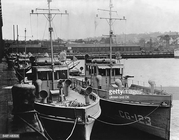 USA New York New York City Era of Prohibition Ships of the US coast guard at Pier 18 Staten Island that were supposed to prevent the smuggling of...