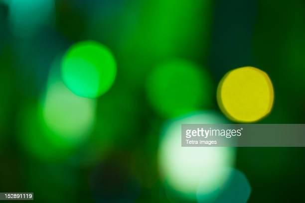 USA, New York, New York City, Green defocused lights