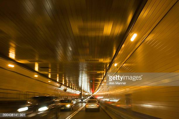 usa, new york, new york city, lincoln tunnel (blurred motion) - lincoln tunnel stock photos and pictures