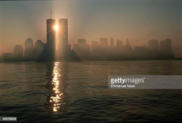 usa, new york, new york city, lower manhattan skyline, dawn - world trade center manhattan stock pictures, royalty-free photos & images