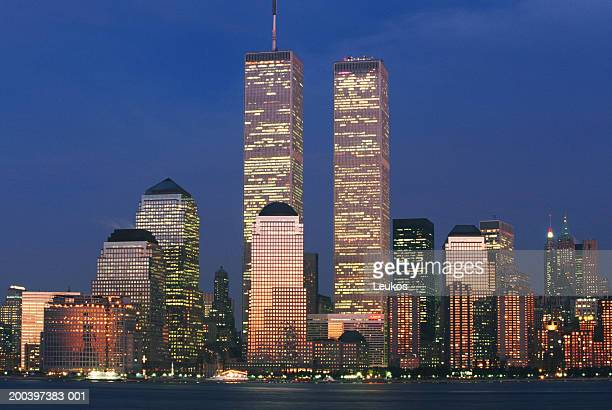 USA, New York, New York City, lower Manhattan skyline, dusk